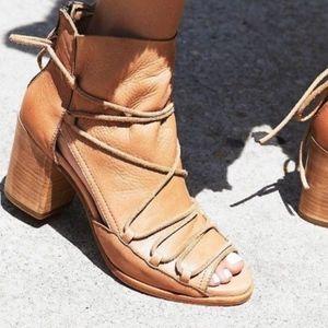 Free People Baske Reese Leather Distress Nude Heel